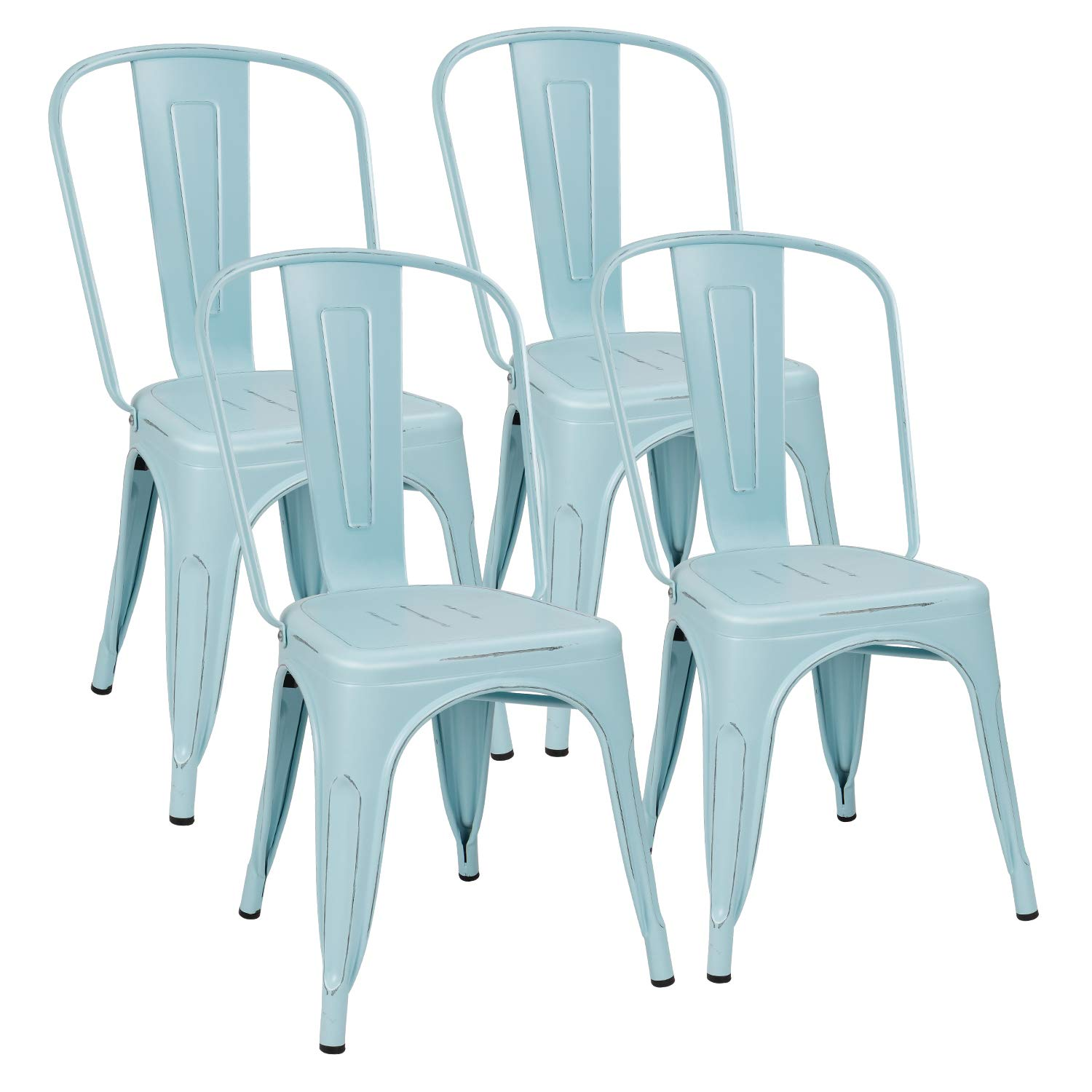 Flamaker Metal Dining Chairs Stackable Kitchen Dining Chairs Metal Chairs Bistro Cafe Side Chairs Height Restaurant Chairs Tolix Side Bar Chairs, Set of 4 (Distressed Blue) by Flamaker