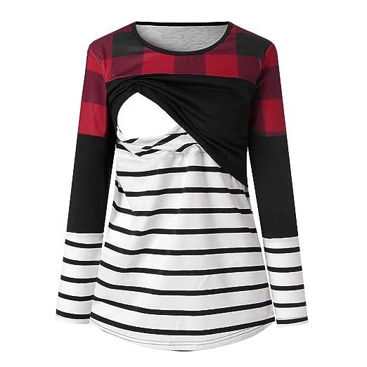 93bc0841f0c Amazon.com  Women s Long Sleeve Layered Nursing Tops Stripe Maternity  Breastfeeding Tunic  Clothing