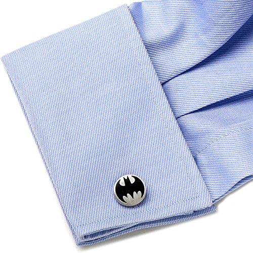DC Mens Metal Vintage Batman Logo Cufflinks (Silver-Tone) (Batman Logo Cufflinks)