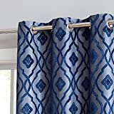 HLC.ME Trellis Flocked 100% Blackout Thermal Window Curtain Grommet Panels - Energy Efficient, Complete Darkness, Noise Reducing - Great for Living Room & Bedroom - Set of 2 (37