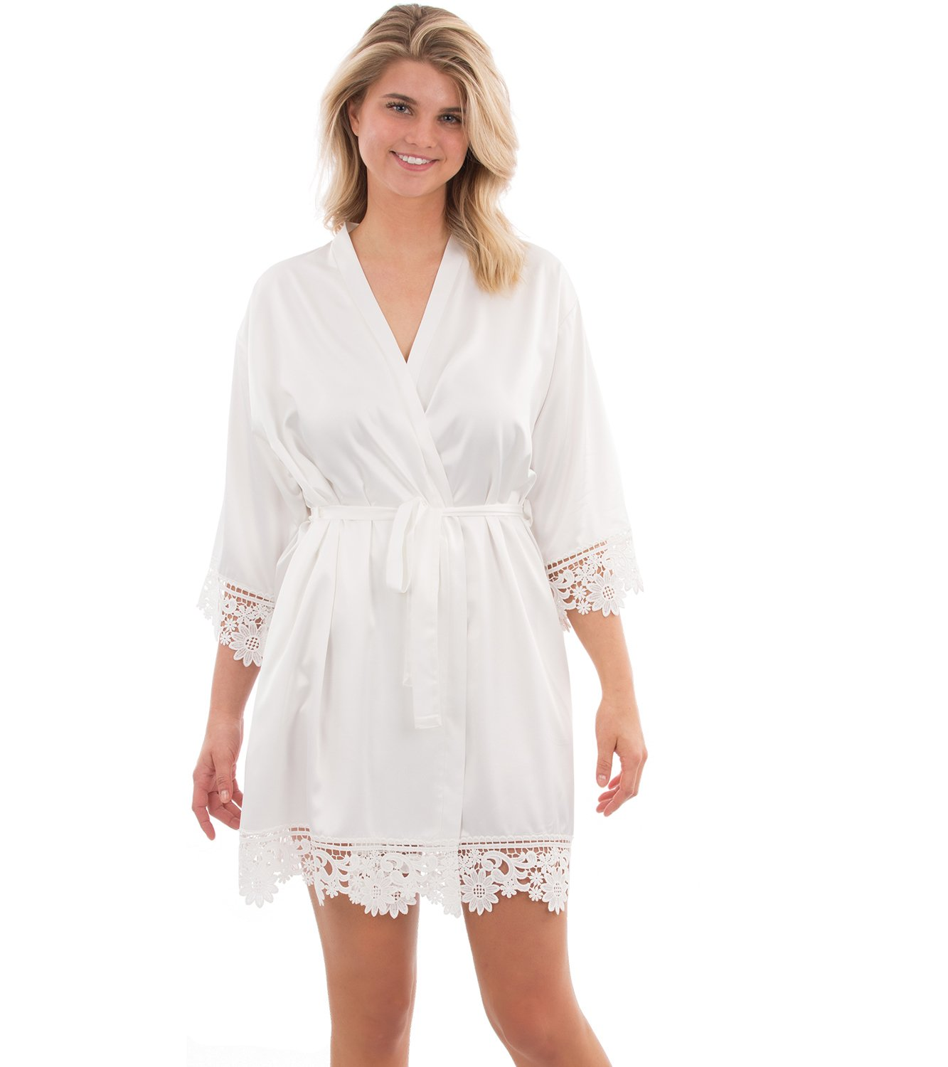 VEAMI Juliette Lace Bridal Robe, Short Robe with a Gold Graphic- White Magnolia- Large