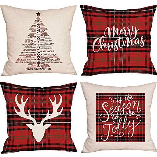 Adoreu Set of 4 Buffalo Plaid Christmas Pillow Cases Red Black Merry Christmas Throw Pillow Covers X-mas Tree Decorative Reindeer Cushion Case Cotton Linen Cushion Cover (18