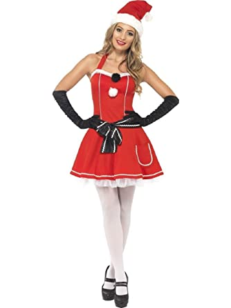 fcffdc0ba09 Pom Pom Santa Ladies Fancy Dress Costume Christmas Miss Santa Outfit 12 14   Amazon.co.uk  Clothing