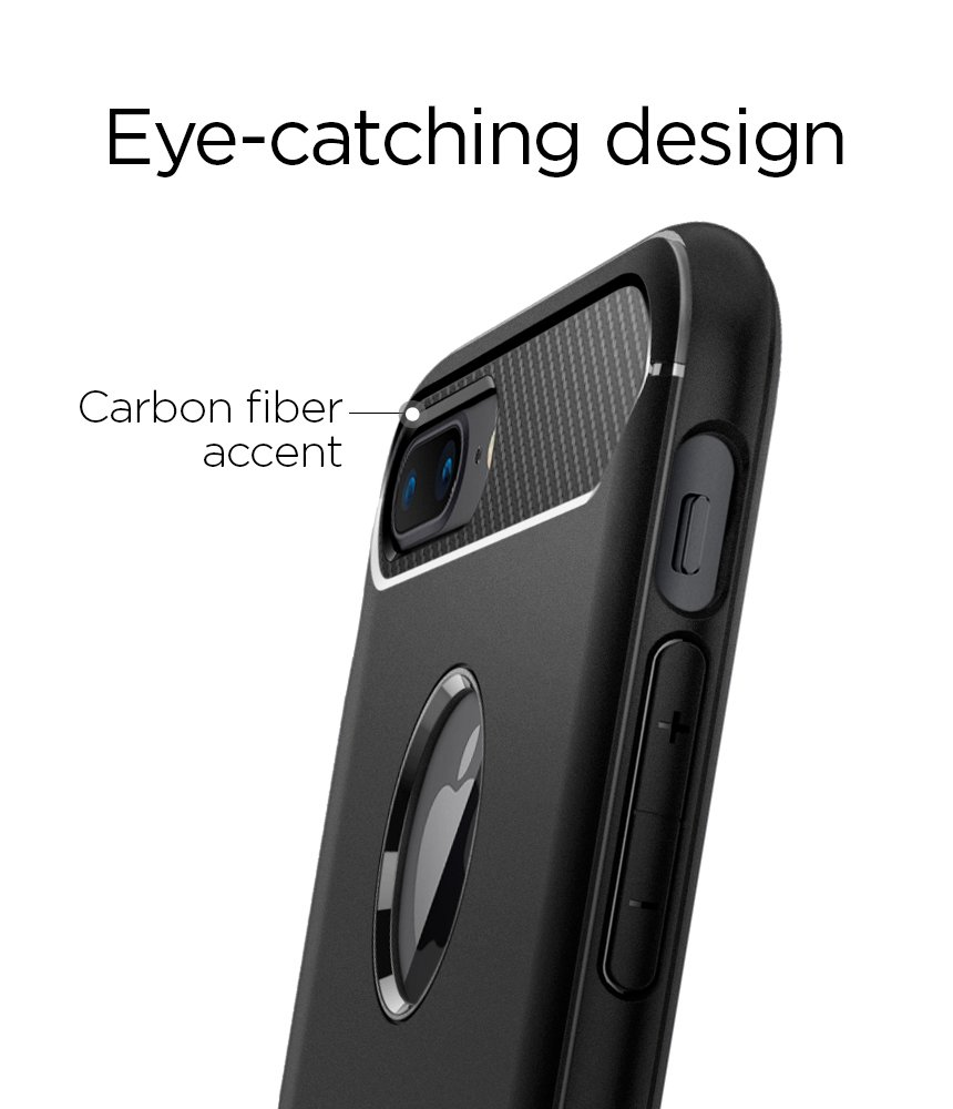 Iphone 7 Plus Case Spigen Rugged Armor With Xs Anti Shock Card Slot Slim Casing Black Resilient Absorption And Carbon Fiber Design For Apple 2016