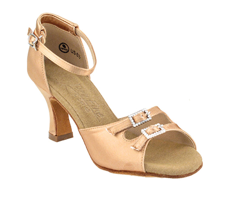 Ladies Women Ballroom Dance Shoes from Very Fine C1620 Series 2.5'' Heel (8, Tan Satin)