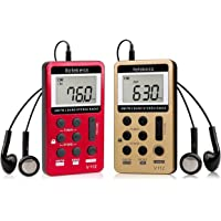 Retekess V-112 AM FM Radio Portable Mini Radio with Earphone Pocket Digital Tuning Rechargeable Battery LCD Display for…
