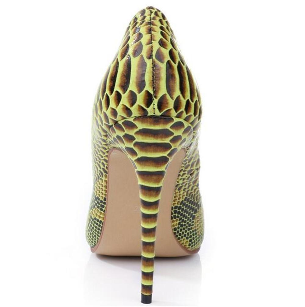 XIE Frauen Heels Gelben Serpentin Spitze Zehe Flachen Mund High Heels Frauen Damen Schuhe 8e86bf
