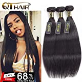 QTHAIR 10A Indian Virgin Hair Straight Human Hair(22'' 24'' 26'',300g) 100% Unprocessed Indian Straight Virgin Hair Extension Weaves Natural Black
