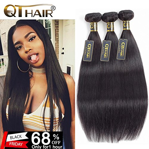 QTHAIR 10A Indian Virgin Hair Straight Human Hair(22'' 24'' 26'',300g) 100% Unprocessed Indian Straight Virgin Hair Extension Weaves Natural Black by QTHAIR