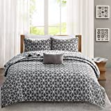 Madison Park Pure Alexa Full/Queen Size Quilt Bedding Set - Aqua, White, Reversible Geometric – 4 Piece Bedding Quilt Coverlets – 100% Cotton Bed Quilts Quilted Coverlet