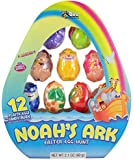 Noah's Ark Animal Shaped Candy Filled Religious Easter Eggs for Egg Hunts and Easter Basket Stuffers, Pack of 12