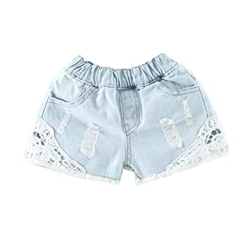 LaoZanA Pantalones Cortos para Niñas Vaqueros Pantalón Corto ...