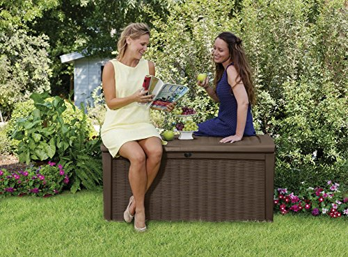 outdoor-plastic-deck-box-all-weather-resin-storage-110-gal-brown-made-from-polypropylene-automatic-opening-mechanism-doubles-as-a-bench-for-additional-seating-adds-comfort-to-any-deck-or-patio