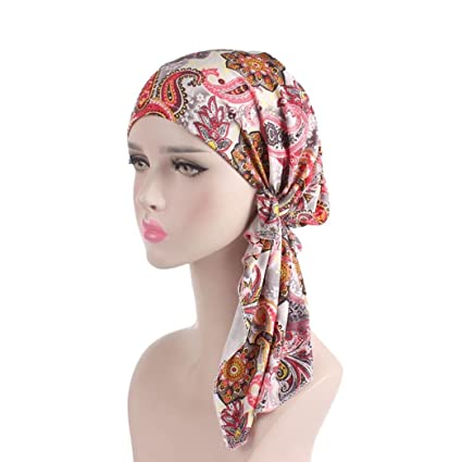 Turca Mujeres Estilo India Musulmán elástico Turban Largo Tail Hat Print Head Bufanda Wrap hot pink