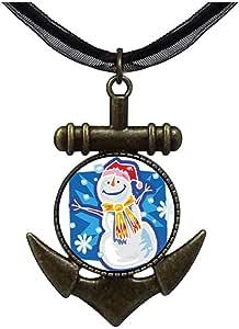 Chicforest Bronze Retro Style Lovely Xmas Snowman Anchor Pendant