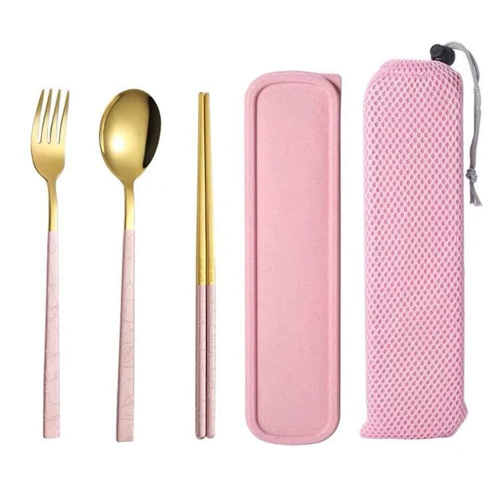 Chopsticks Box Spoon Set 304 Stainless Steel Cutlery Three-Piece Fork Korean Student Portable Travel Spoon+Chopsticks+Fork+Box Pink /& Silver