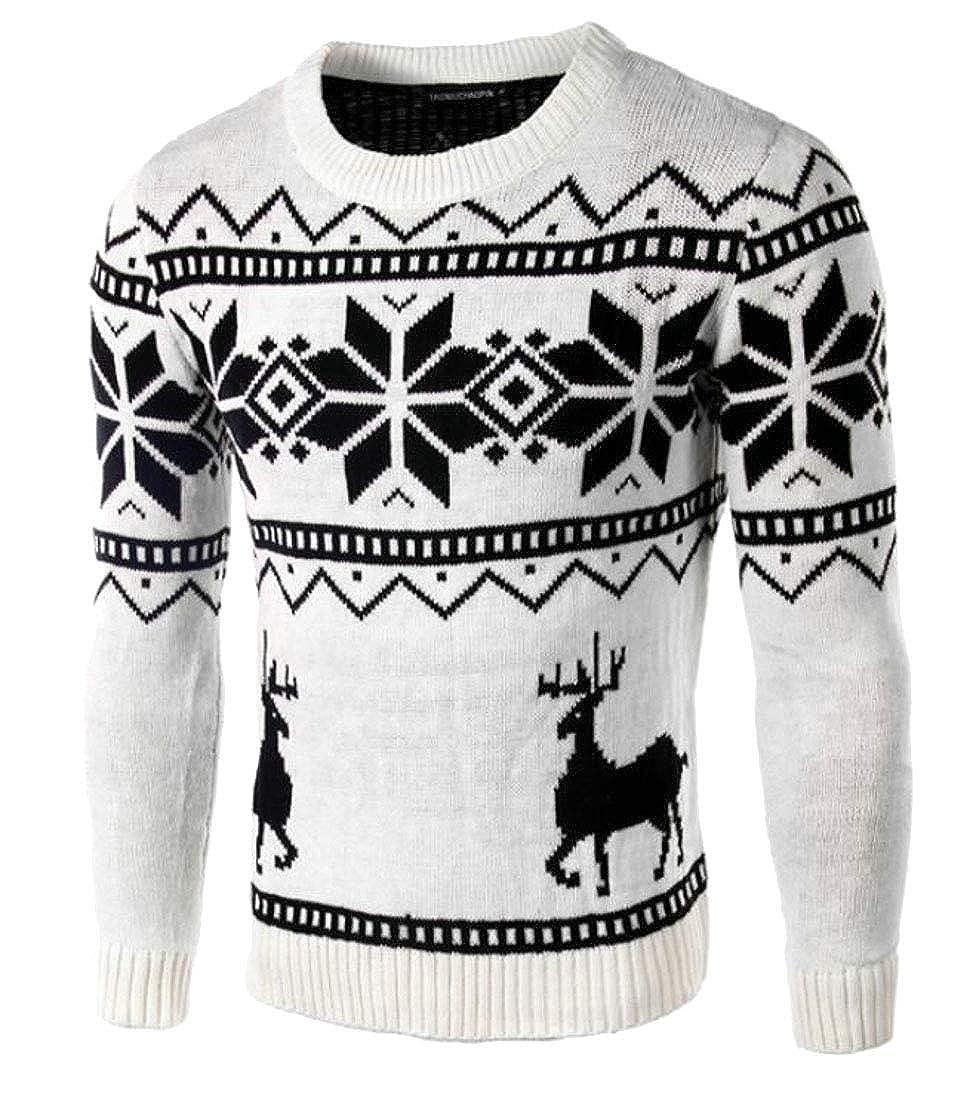 Beloved Mens Christmas Reindeer Casual Crewneck Long Sleeve Knit Pullover Sweater