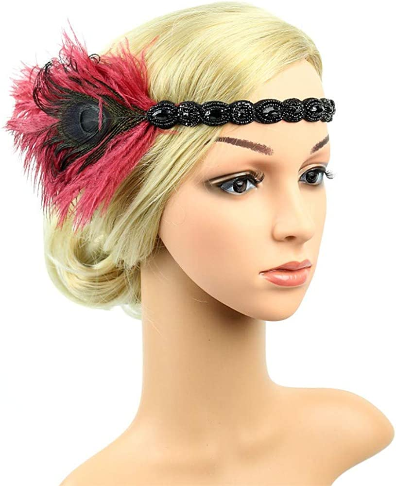 1920s Headpiece Feather Flapper Headband Great Gatsby Headdress Vintage Accessory