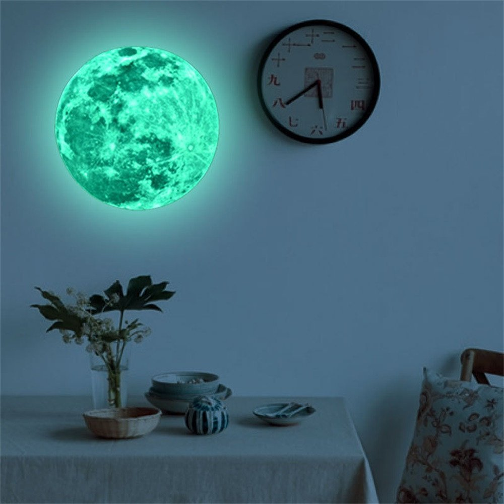 Longra 3D Wall Stickers Full Moon for Room light your Ceiling for Kids Fluorescent Wall Sticker Removable Glow In The Dark Sticker