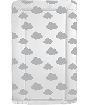 ee57f2e8e65e Deluxe Unisex Baby Waterproof Changing Mat with Raised Edges - Unique Grey  and White Cloud Design