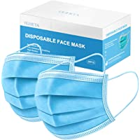50 Pcs Disposable Face Mask 3-Ply Breathable & Comfortable Filter Safety Mask, Protective Blue Masks for Indoor and…