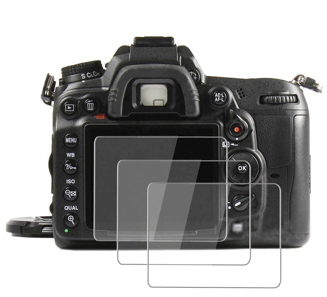 PCTC Glass Screen Protector Fit for Nikon D7000 Anti-Scratches Anti-Bubble Anti-Fingerprint,Waterproof Foils (3 Pack)