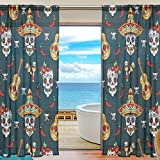 SEULIFE Window Sheer Curtain, Mexican Sugar Skull Flower Voile Curtain Drapes for Door Kitchen Living Room Bedroom 55x78 inches 2 Panels