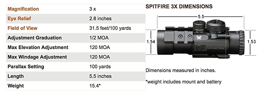 Vortex Optics SPR-1303 Spitfire 3x Prism Scope with EBR-556B Reticle (MOA)