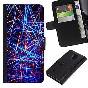iBinBang / Flip Funda de Cuero Case Cover - Líneas de neón abstractas - Samsung Galaxy Note 4 SM-N910