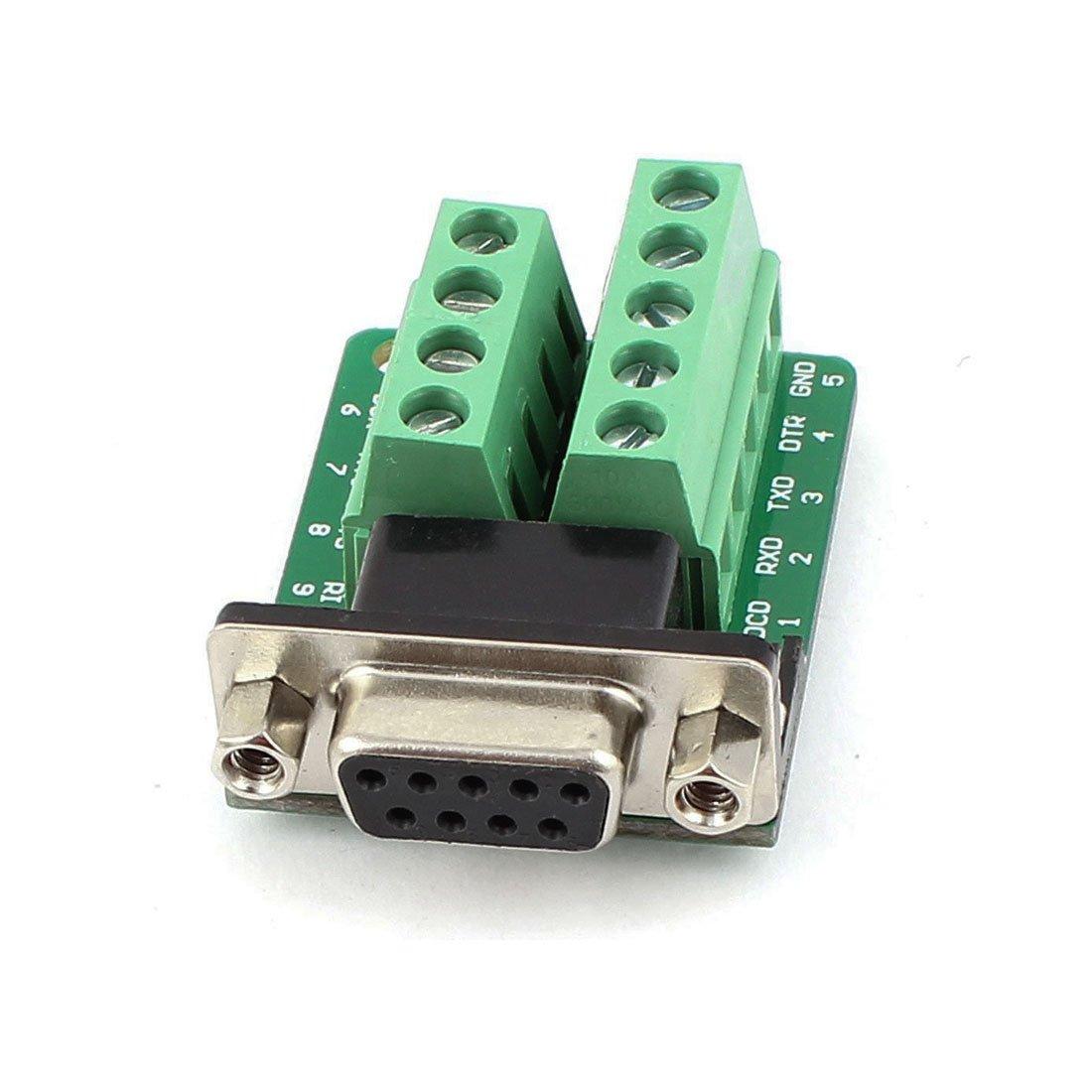 Copapa Connector DB9 RS232 D-SUB Female Plug 9-pin Port Adapter to Terminal Connector Signal Module DB9-M