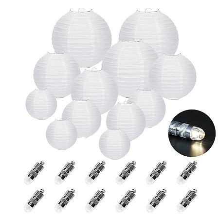 FullBerg 12er Weiße Papier Laterne Lampions (Verschiedene Größen) +12er Warmweiße Mini LED-Ballons Lichter, rund Lampenschirm