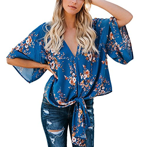 LUCA Summer Fashion Women V Neck Half Sleeve Printed Chiffon T-Shirt Loose Tops Blouses Beach Holiday Blue