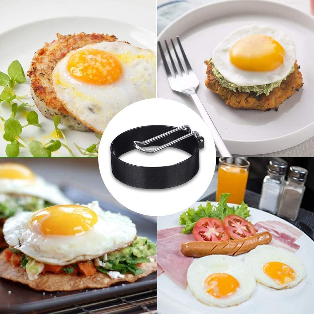 Professional Egg Rings of Stainless Steel Omelet Mold,Kitchen Non-stick Cook pancake Mold Pancake Ring Mold Egg Ring,4 Pack Round Egg Cooker Rings for Cooking 4pcs