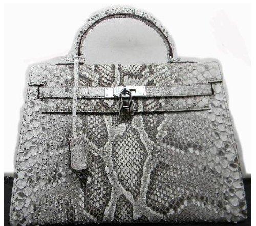 Borsa modello Kelly pelle vera di pitone color Roccia bianco-nero   Amazon.it  Scarpe e borse 288949ac46d