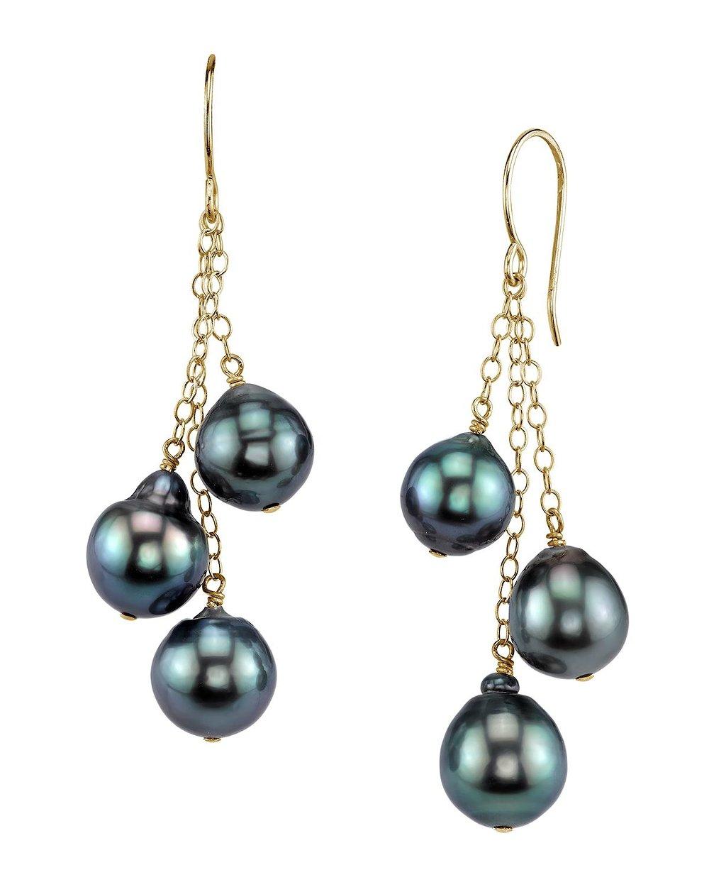 14K Gold Tahitian South Sea Cultured Drop Pearl Cluster Earrings