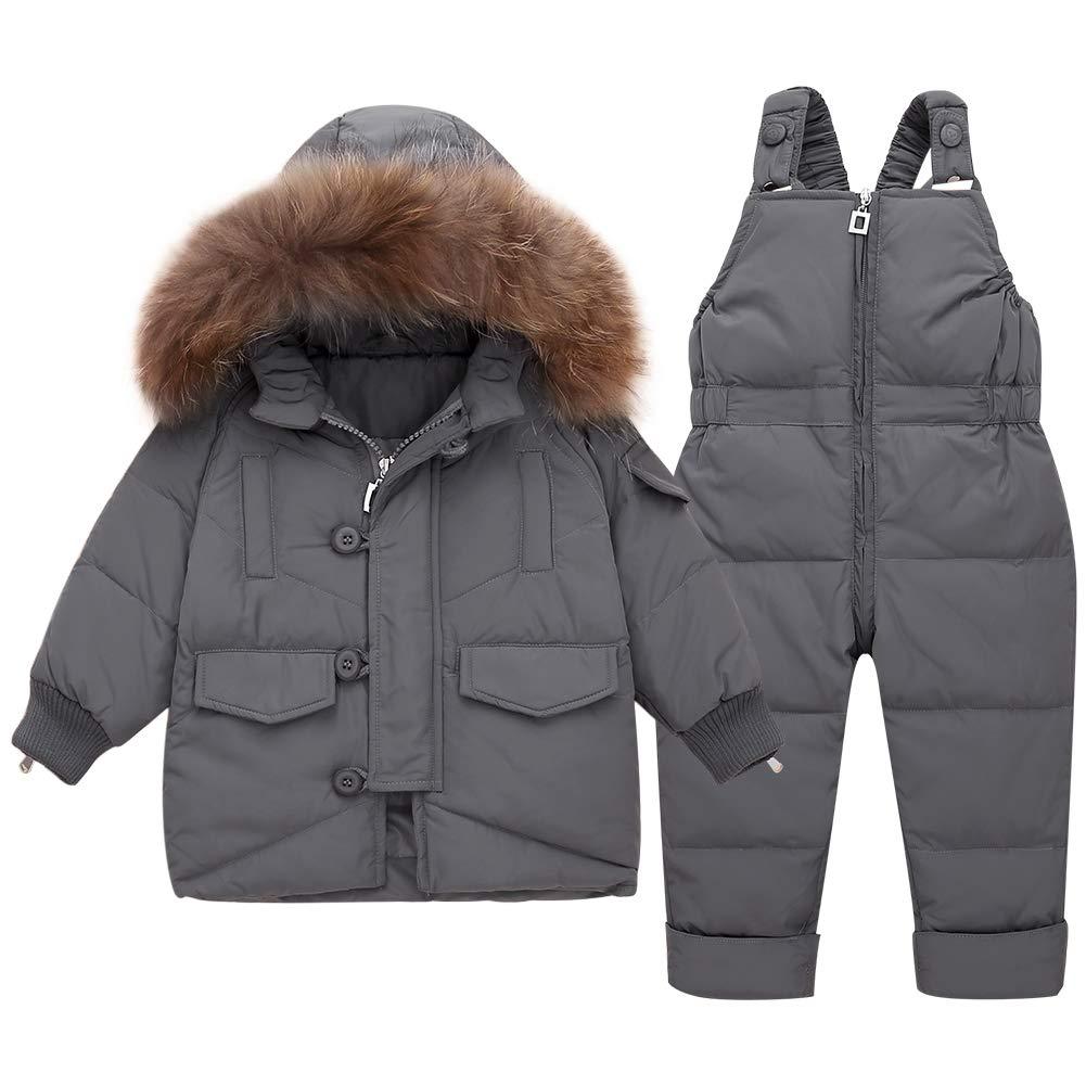 SANMIO Baby M/ädchen Winterjacke Warm Schneeanzug Daunenjacke Skianzug S/ü/ß Schneeanzug Mit Kapuze Schneelatzhose Down Jacket 2tlg Bekleidungsset Verdickte