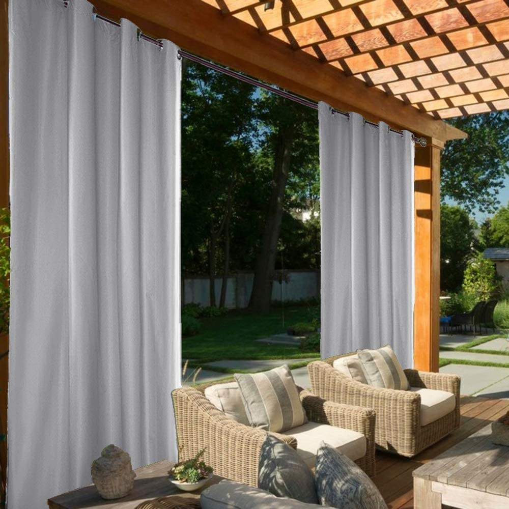 """Outdoor Curtain Garden Patio Gazebo Sunscreen Blackout Curtains, Thermal Insulated White Curtains with Grommet   Waterproof& Windproof&UV-protection & Mildew Resistant   Two Panels (Gray, 54"""" x 84"""") Gray 54"""" x 84"""""""