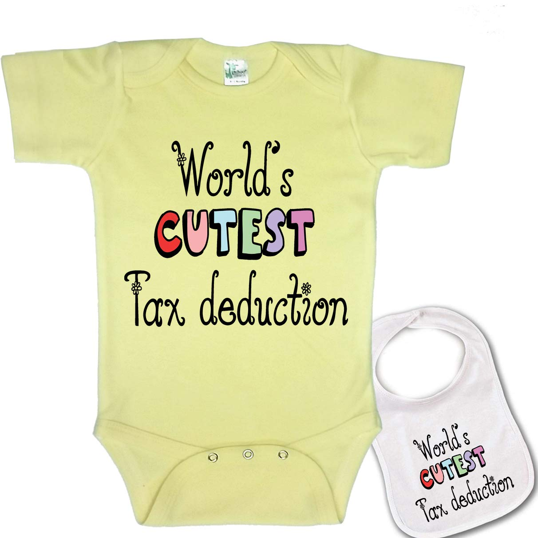 e0523a2e23004 Igloo World's Cutest Tax Deduction -Cute Boutique Baby Bodysuit Onesie &  Matching bib