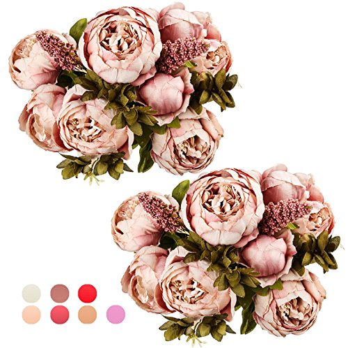 Ogrmar Vintage Artificial Peony Silk Flowers Bouquet for Decoration (Cameo Brown x2) -