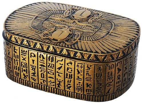 (Egyptian Themed Dual Winged Scarab Amulet Golden Jewelry Trinket Box)