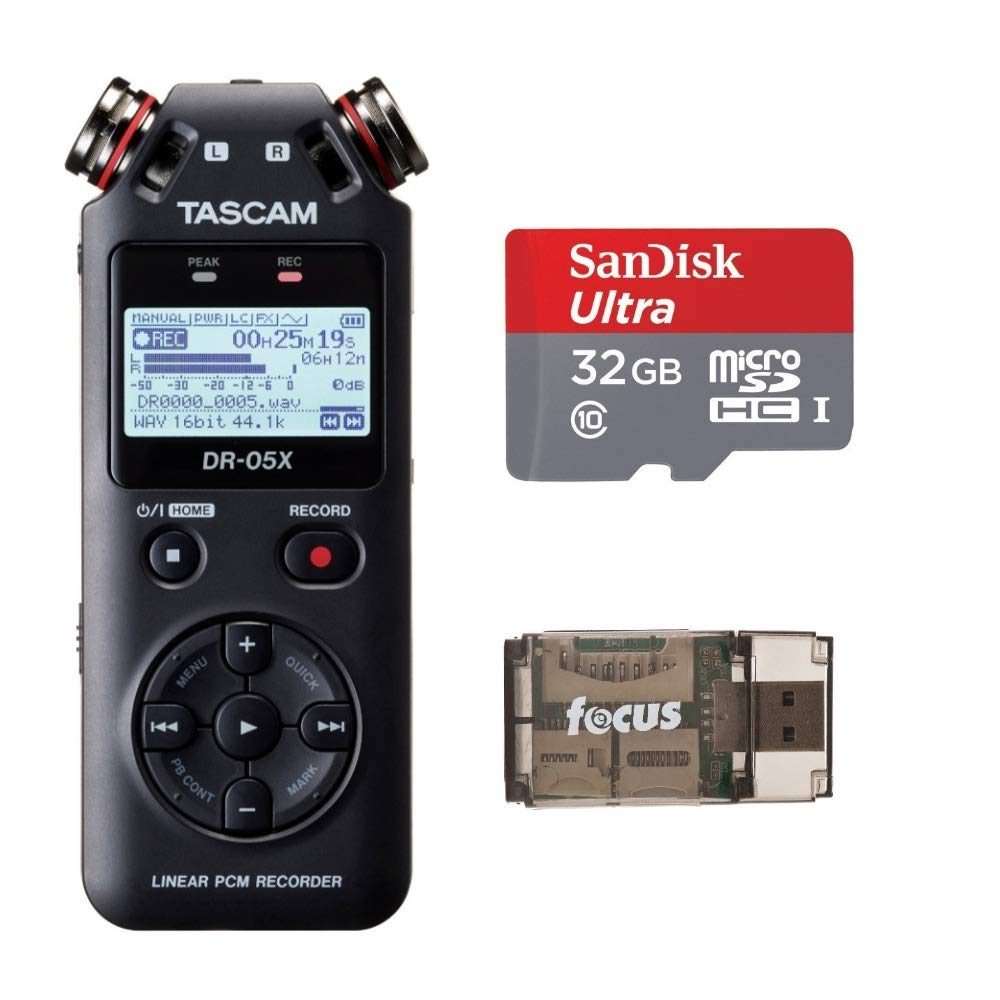 Tascam DR-05X Stereo Handheld Audio Recorder and USB Audio Interface with 32GB MicroSD Card and Focus USB Card Reader
