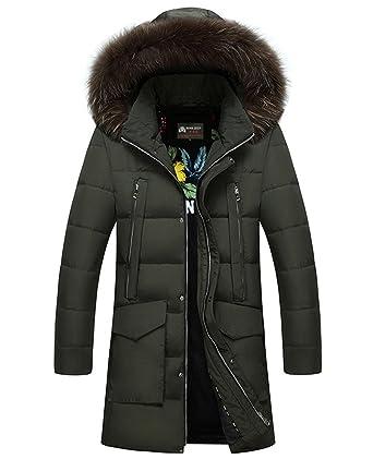 48ddd32bd Amazon.com: JEWOSOR Men's Winter Warm Thick Long Down Coats Fur ...