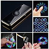 Electronic Lighter, Spin 18 Patterns LED Light - USB Rechargeable Rotatable Metal Body Flameless Plasma Lighter Wind Resistant Best for Lighting Cigarettes Candles Luxury Gift Box (#1 Black B)