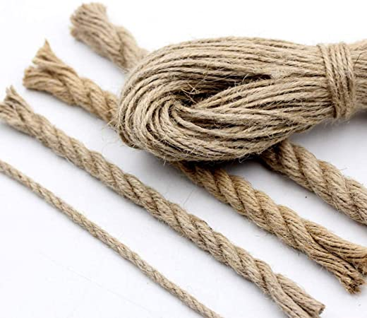 Naturel extra lourd solide corde de jute Ficelle torsadée tressé sac de cordon Poignées sash