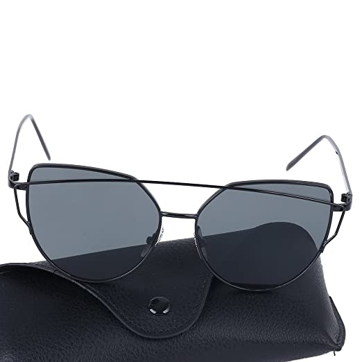 8d65d9d27151 Cat Eye Mirrored Lenses Metal Frame Sunglasses for Women Men (Black Frame Black  Lens