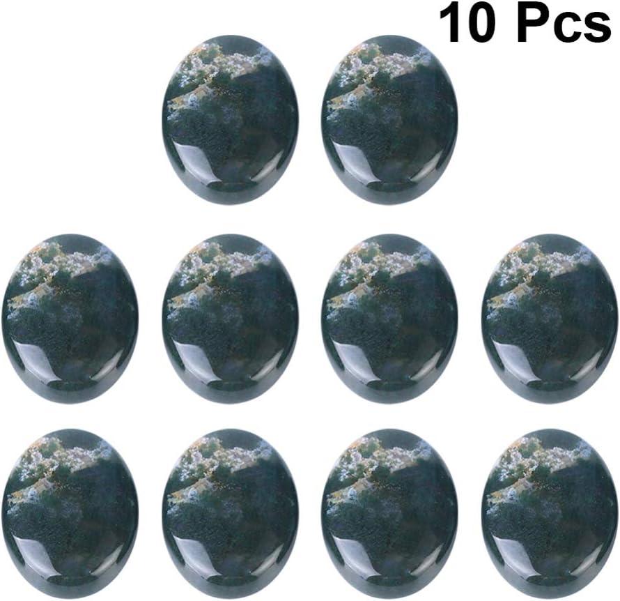 Exceart 10 Piezas Cabujones Ágata de Piedra Ovalada Cúpula de Piedras Preciosas Cúpula Gema Cba Cuentas de Cabujón para La Fabricación de Joyas Aretes Pendientes 18X25mm (Verde Oscuro)