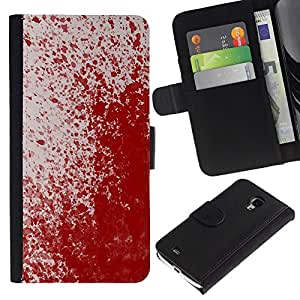 "Samsung Galaxy S4 Mini i9190 / i9195 (Not For Galaxy S4) , la tarjeta de Crédito Slots PU Funda de cuero Monedero caso cubierta de piel ("" Paint Splash Art Modern Random Red Blood"")"