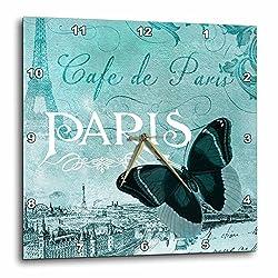 3dRose Cafe De Paris Teal Butterfly Vintage Art - Wall Clock, 10 by 10-Inch (dpp_110528_1)