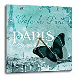 3dRose DPP_110528_3 Cafe De Paris Teal Butterfly Vintage Art-Wall Clock, 15 by 15-Inch For Sale