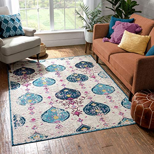 Well Woven Firenze Peri Modern Vintage Ogee Ikat Distressed Multi Area Rug 7'10″ x 9'10″